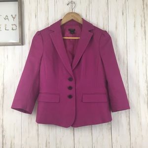 Ann Taylor Fuchsia Three Button Blazer